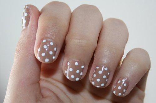 дизайн коротких ногтей осень 2013 в горошек фото