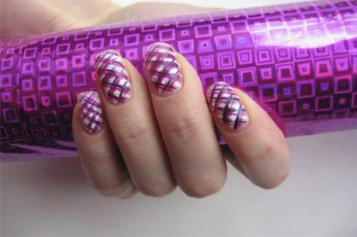 фиолетовый дизайн миндалевидных ногтей фото