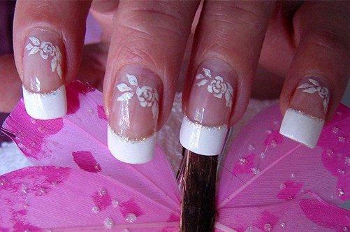 дизайн ногтей френч с цветами 2013 фото