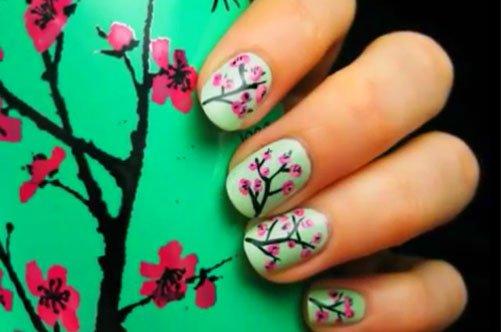 дизайн ногтей сакура фото