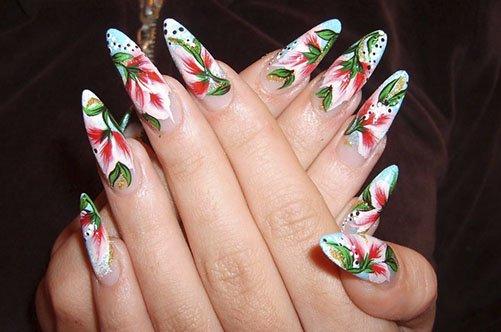 дизайн ногтей акриловыми красками цветы фото