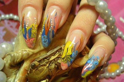 яркий дизайн ногтей акриловыми красками фото