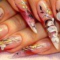 дизайн длинных ногтей акриловыми красками фото
