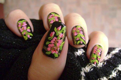 дизайн ногтей акриловыми красками хохлома фот