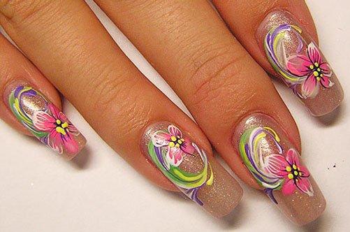 дизайн акриловых ногтей с цветами фото