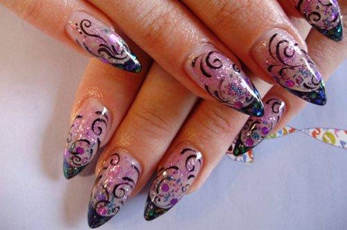 дизайн ногтей с узором акриловыми красками фото