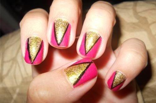 дизайн ногтей для начинающих треугольники фото