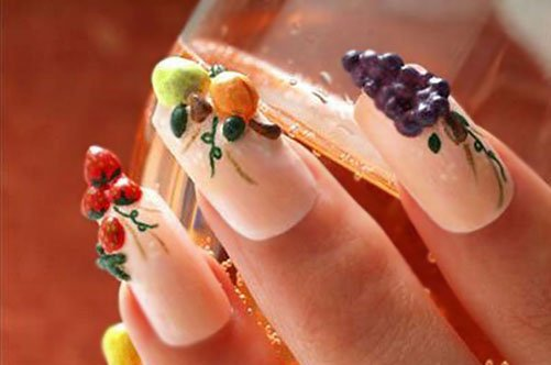 дизайн ногтей гелем объемный дизайн фрукты фото