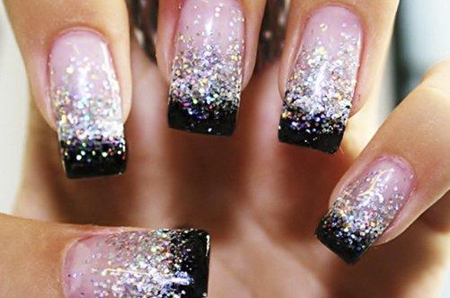 дизайн ногтей гелем с блестками фото