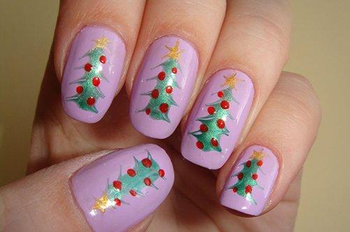 фиолетовый дизайн ногтей с елочкой фото