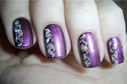 сиреневый дизайн ногтей иголкой фото