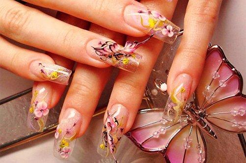 дизайн акриловых ногтей крыло бабочки фото