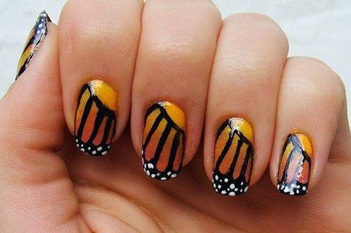 необычный дизайн ногтей крыло бабочки фото