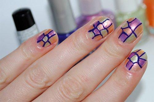 мозаика витраж дизайн ногтей фото