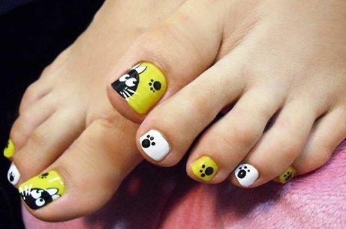 дизайн ногтей на ногах кошки фото