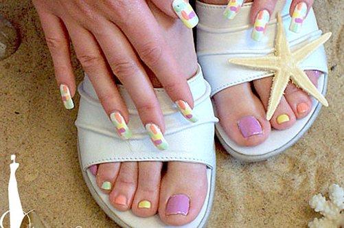 морской дизайн ногтей на ногах фото