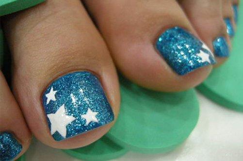 дизайн ногтей на ногах со звездами фото