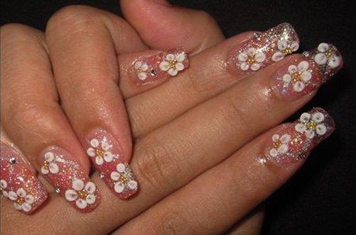 кружевные цветы дизайн ногтей на выпускной фото