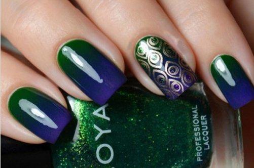 перо павлина дизайн ногтей фото
