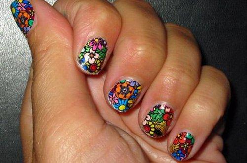 дизайн ногтей витраж на очень короткх ногтях фото
