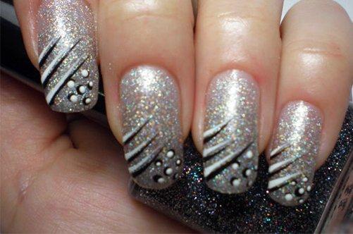 новый дизайн ногтей серебристый френч фото