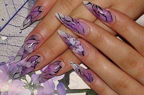 лиловый дизайн акриловых ногтей фото