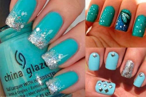 фото дизайна голубых ногтей с блестками