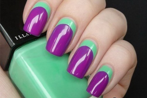 лиловый дизайн квдратных ногтей фото