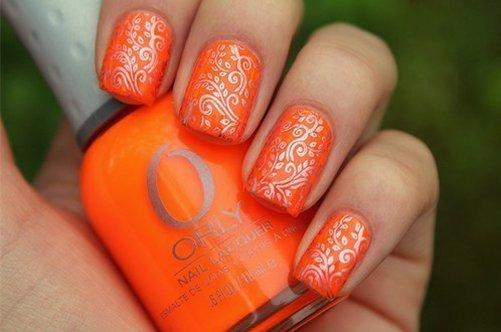 фото дизайна квадратных ногтей 2013 оранжевый маникюр фото