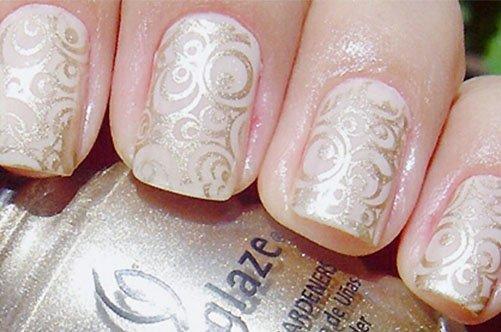 золотой дизайн квадратных ногтей фото