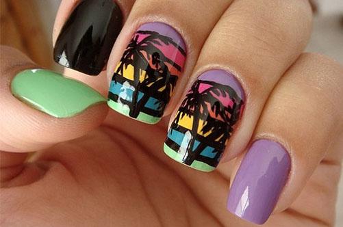 тропический дизайн квадратных ногтей фото