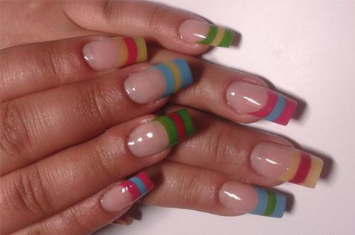дизайн ногтей разноцветный полосатый френч фото