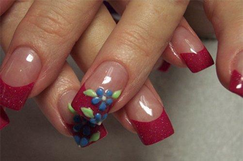 дизайн ногтей бордовый френч с цветами фото