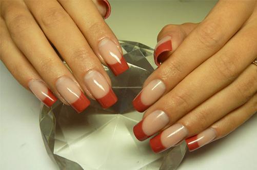 фото дизайна ногтей разноцветный бордовый френч