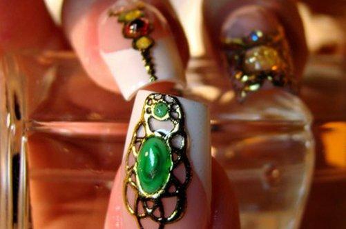 фото дизайна ногтей жидкие камни френч