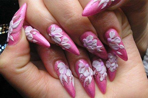 фото дизайна острых ногтей с лепкой фото