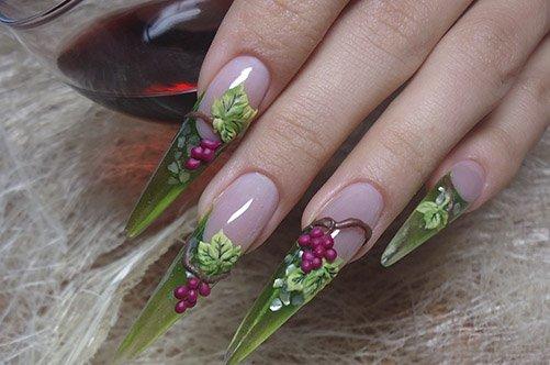 дизайн длинных острых ногтей фото