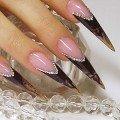 фото дизайна острых ногтей со стразами