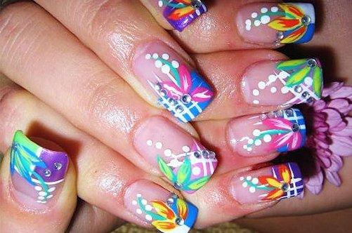 фото ярких дизайнов ногтей радуга