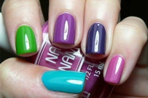 яркий разноцветный дизайн ногтей фото