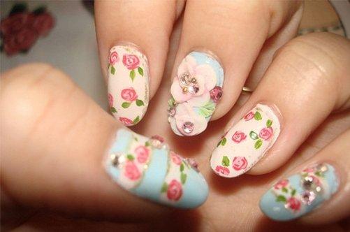 фото красивого дизайна ногтей 2013 с цветами фото
