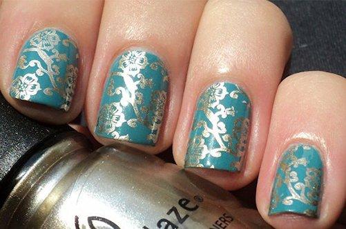 фото красивого бирюзового дизайна ногтей 2013