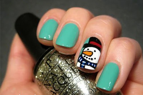 фото красивого дизайна ногтей 2013 снеговик