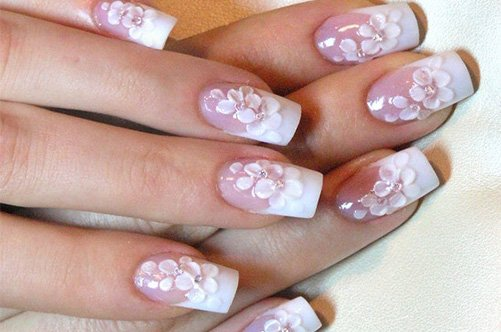 свадебный дизайн коротких ногтей: