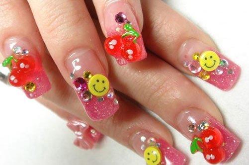 яркий дизайн ногтей с лепкой фото