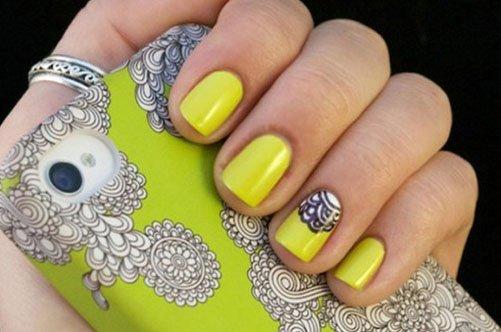 яркий желтый дизайн ногтей фото