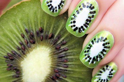 яркий дизайн ногтей киви фото