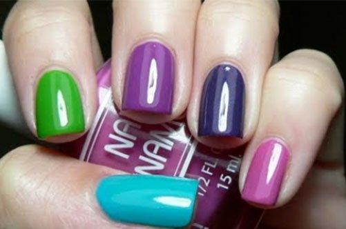 яркий цветной дизайн ногтей фото