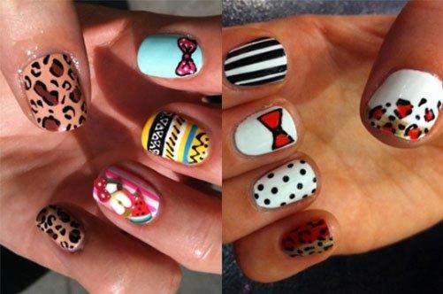 яркий летний дизайн ногтей с разноцветными узорами фото
