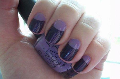 черно-фиолетовый лунный дизайн ногтей фото